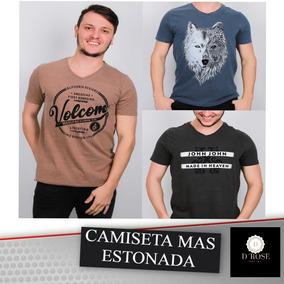 Kit C 5 Camisetas Masculina Estonadas Varias Marcas c5b3b1e764918