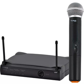 Microfone Sem Fio Uhf Com Estojo Tag Sound Tm559 2 Pilhas Aa