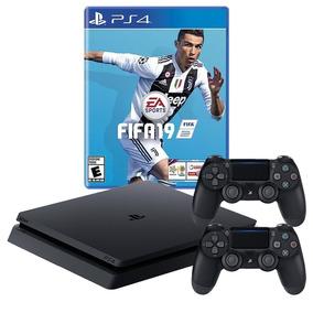 Playstation 4 Slim 1 Tb + Fifa 19 + 2 Joystick, Macrotec