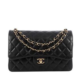 d2746491ae144 Bolsa Chanel 2.55 Couro Lambskin Preta Metais Dourado