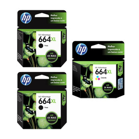 Kit Cartucho Hp 664 Xl C/ 02 Preto + 01 Colorido - Original