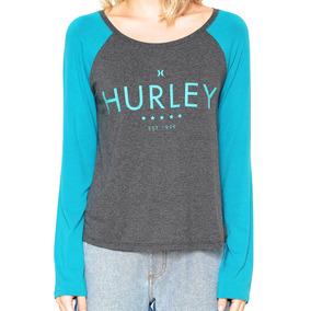 Camiseta Hurley Manga Longa Raglan Est 99 - Verde mescla c7b301ca610