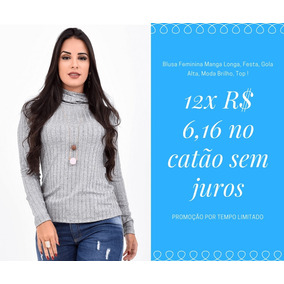 928e7de0b Camisa Social Feminina Festa Manga Longa Gola Alta Confira!