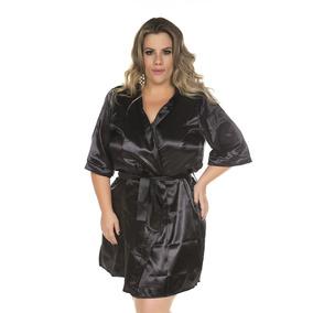 Sexy Robe Em Cetim Preto Roupa Dormir Grande Sao Paulo - Moda Íntima ... e50e457d89d
