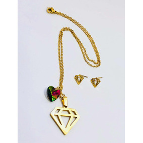 0cb2b2d07afb Collar De Diamante C aretes Chapa Oro 14k Corazón Swarovski.