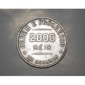 Moedas De 2000 Réis 1908 Prata Ponto Entre 1ª E 2ª Zero Rara