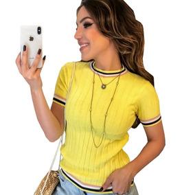 Blusa Colegial Feminina Camiseta Basica De Tricot Promoção