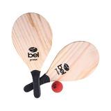 Kit Frescobol 1 Par Raquete De Praia + 1 Bola Bel Fix 481000