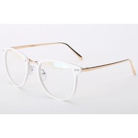 Armação Vintage Redonda Unissex Para Óculos De Grau - Branca