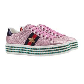 Gucci Ace Sneaker Rosa Con Cristales Meses S/i