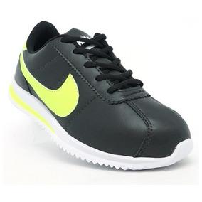Tênis Nike Classic Cortez Preto E Verde Limão