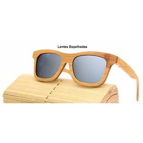 Óculos Bambu Madeira Polarizado Uv400 Sol Com Caixa Quadrado 828ef8bd4e