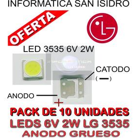 Pack 10 Led 6v 2w 3535 Backlight Leds Tv Lg Anodo Grueso