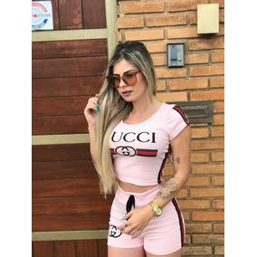 Conjunto Feminino Croped E Shorts C listas Barato Moda Gucci c65373eb38f56