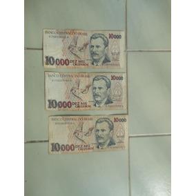 Nota De 10000 Dez Mil Cruzeiros (antigas) Lote Com 3