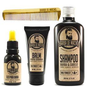 Kit Barba De Macho Shampoo + Balm + Oleo + Pente Madeira