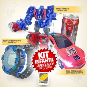 Kit Carrinho Controle Lata Refri + Transformers + Relógio