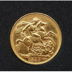 Moeda Ouro Libra Esterlina. 1910. Soberba
