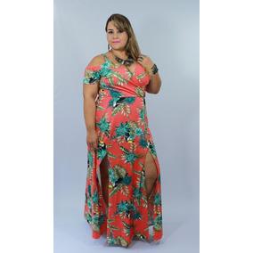 Vestido Longo Plus Size Estampado Tucano