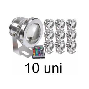 Kit 10 Refletores Piscina Super Led 10w /12v +2 Fontes 5a