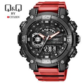 Reloj Deportivo Negro Rojo Hombre Doble Hora Q   Q Citizen da11fe7baf72