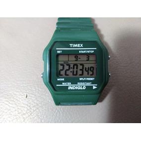 Timex Lcd Militar Verde Oliva Coleção Anos 90 Impecável
