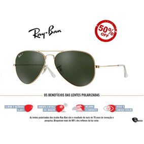 Óculos Ray Ban 3025 3026 Dourado Com Lente Azul Degrade - Óculos no ... df14a9047f