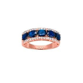 Anillo De Oro Rosa 14k Con 28pts De Diamante Y Zafiro-r33178