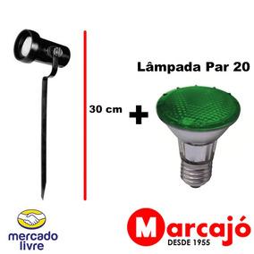 10x Kit Espeto De Jardim Preto + Lâmpada Par 20 Verde