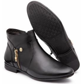 e13f3c54c Bota De Couro Preta Feminina Cano Curto Baixa - Sapatos no Mercado ...