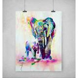 Elefante Acuarela 02 Impreso En Lienzo Tela Canvas 90x70cm