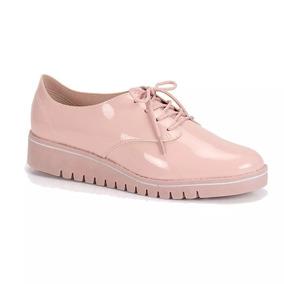 Sapato Oxford Tenis Casual Beira Rio Rosa Verniz