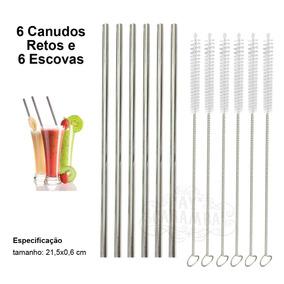6 Canudos Reutilizável Inox Com 6 Escova De Limpeza