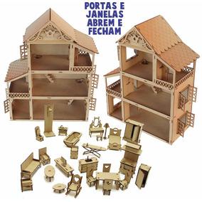Casa Casinha Boneca + 34 Mini Moveis Boneca Poly Janela Abre