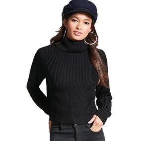 Sweater Negro De Cuello Alto Moda Dama Forever 21 Talla G