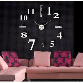 Reloj Real Minimal Pared Hermoso Tipo Cristal Espejo 120cm3d