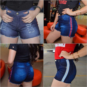 04 Short Bermuda Jeans Feminino Cintura Alta Roupas Atacado