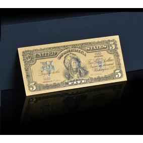 Cédula 5 Dólar Eua 1988, Folheada A Ouro