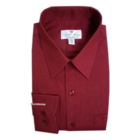 Camisa M/ L Color Vino Caballero Planchado Fácil