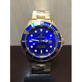 Relógio Submariner Dourado Com Azul