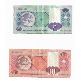 Kit Duas Notas (5 E 10 Kwanza (s)) Nota Angolana