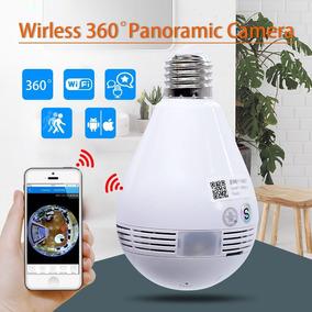 Câmera Led Lâmpada Wifi 360 Panoramica Hd Visão Noturna Hd