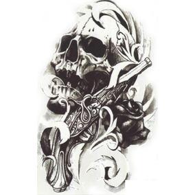 Tatuagem Temporária Fake Tatoo Pronta Entrega Crânio E Arma