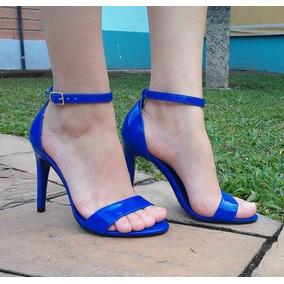Sandália Salto Alto Salto Fino Azul Verniz