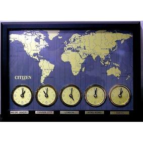 1537dd23daf Relógio Citizen Parede Hora Mundial Raríssimo 5 Máquinas