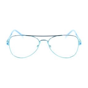 7da526d7a0cab Armacao Oculos Feminino Aviador Branco - Óculos Azul no Mercado ...