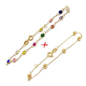 98d9f0114fd15 Pulseiras De Ouro Com Pedras Coloridas - Pulseira de Ouro Unissex no ...
