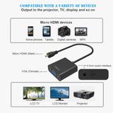 Cabo Adaptador Micro Hdmi Para Vga Com Audio Tablet Notebook