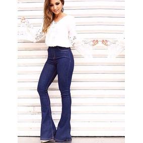 Calças Jeans Feminina Flare Cós Alto Levanta Bumbum