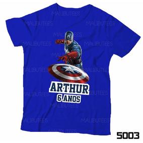 Camiseta Infantil Personalizada Heróis Capitão América 5003 6ad41162032